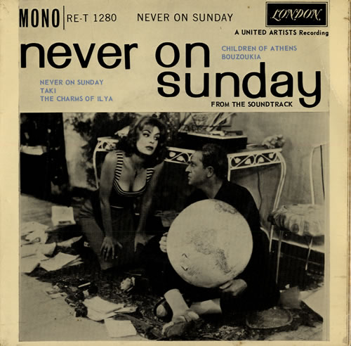 never on a sunday Never on sunday (greek: ποτέ την κυριακή, pote tin kyriaki) is a 1960 greek black-and-white romantic comedy film the film tells the story of ilya, a self-employed, free-spirited prostitute who lives in the port of piraeus in greece, and homer, an american tourist from middletown, connecticut - a classical scholar enamored of all things greek.